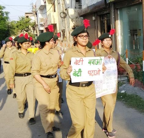 An awareness drive carried out by girl Cadets of NCC, Guru Angad Dev Veterinary and Animal Sciences University, Ludhiana for  Beti Bachao Beti Padhao programme in residential areas of Ludhiana (17.05.2018)