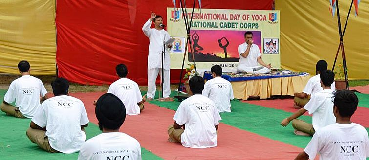 """NCC CADETS PERFORM YOGA in GADVASU on """"Internation"""