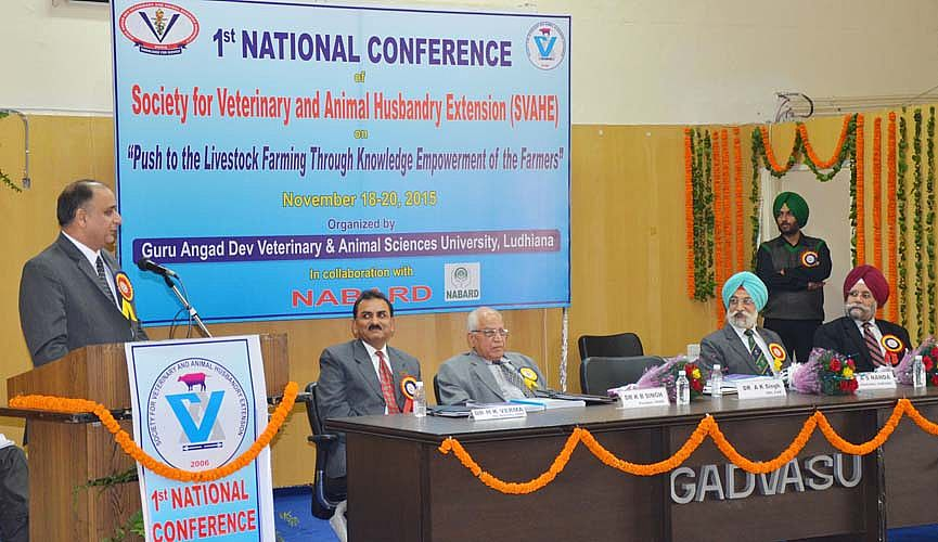Dr AK Singh, DDG (Agricultural Extension) ICAR addressed the audience in 1st National Conference SVAHE on dated 18th Nov., 2015