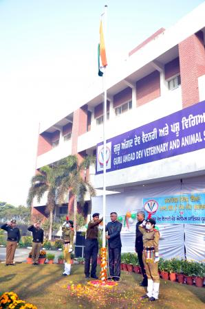 Dr. Inderjeet Singh, Vice Chancellor unfurled the National Flag at the University Campus on Celebration of Republic Day on 26-1-2021