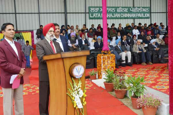 Dr. A. S. Nanda Vice Chancellor address the students in 13th Annual Athletic meet was held at GADVASU on 13th March 2019