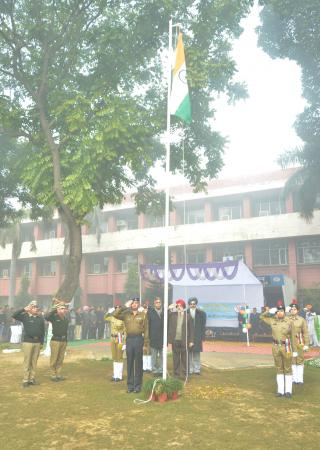 Dr. A. S. Nanda, Vice Chancellor unfurled the National Flag at the parade ground on Celebration of Republic Day on 26-1-2020