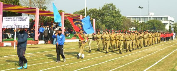 March pass performance by students on 14th Annual Athletic Meet
