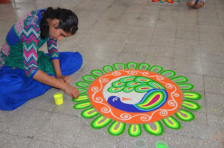 Rangoli making in 6th Inter College Youth Festival